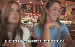 lina and danielle delicate lesbians public