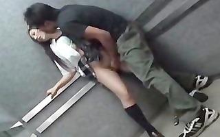 """schoolgirl abased in elevator part """""""
