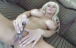 large titty golden-haired whore plays with toys