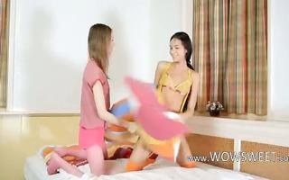 cute unbelievable babysitter lesbians