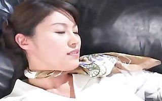 sexy oriental stewardess masturbating