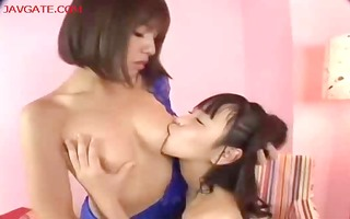 japanese lesbos licking cum-hole and using