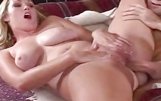 busty golden-haired milf with pale body receives