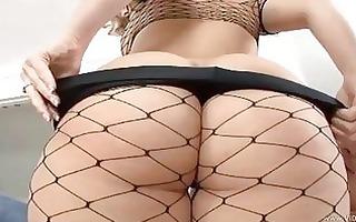 teasing pale blond in fishnet stockings gets