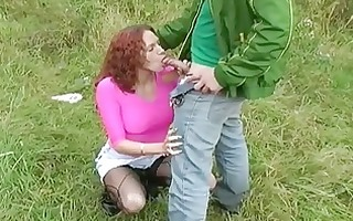 sublime redhead chick gives astounding head