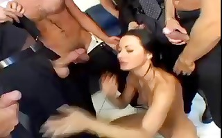 brunette hair sandra romain is in a group-sex and
