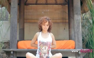 caprices wet yoga with pink marital-device