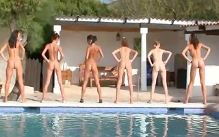 six undressed angels by the pool from italia