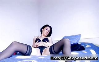 lascivious emo cutie in stocking toying her part3