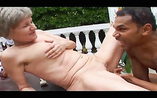 grey haired granny outdoor engulf and fuck