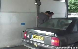 public trio at a car wash