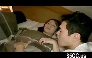 wife drilled by husbands ally on the bed 01