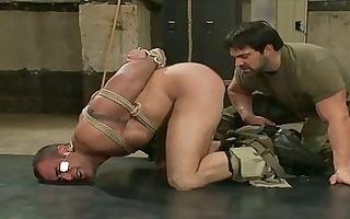 powerful army homo dude got bondaged and