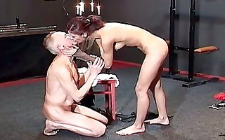 perverted redhead bitch tortures old horny manj