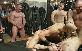 tattooed homosexual man receives bound and