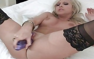 smoking hottie in black nylons masturbates