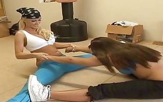 2 girls engaged in fitness then get lezz fucking