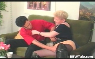 overweight blonde mother i in lengthy leather
