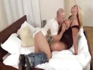 Hot busty blonde MILF gets licked and drilled for