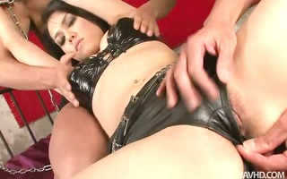 leather clad maria is slowly s garb nude and