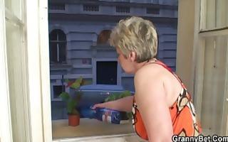 bulky golden-haired granny seduces the neighbour