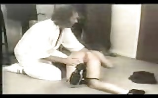 brunette hair acquires spanked on the floor