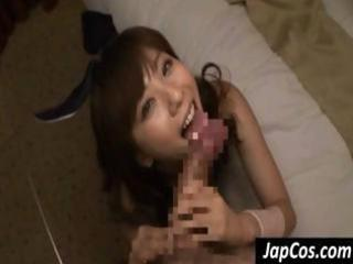 Naughty Oriental cute bunny gives a POV blowjob