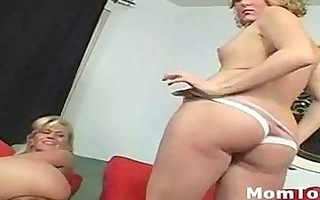 blond mom and daughter strip bare and shows their