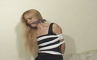 golden-haired bound &; gagged at home