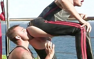 brutal boys in leather drilling outdoor