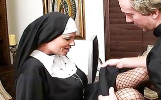 turned on nun in fishnet nylons acquires her