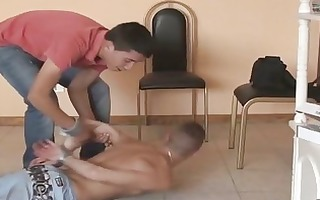 in bondage for trio wild homosexual fuck