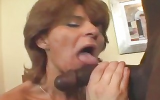 aged wench in fishnets takes black pounder