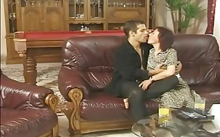 granny fucked on a leather couch