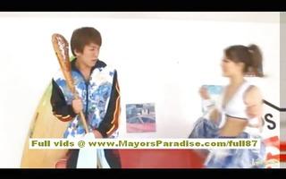 risa tsukino oriental gal in cheerleader receives