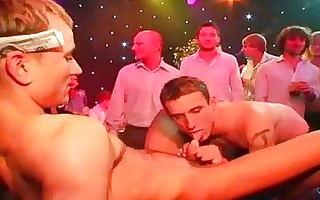 gay party chaps engulf on dicks