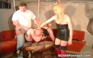 hawt sadomasochism trio scene with a bondage part5