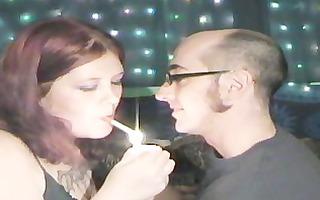 youthful big beautiful woman french giving a kiss