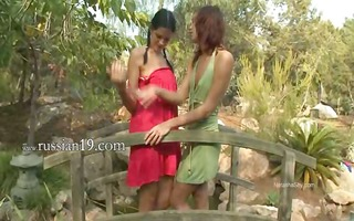 glamorous girls licking pussies outdoors
