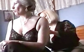 two grannies play in underware and stockings