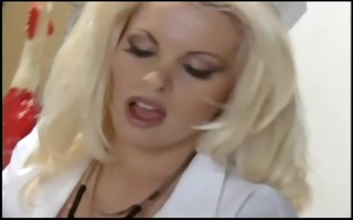 nurse with fishnets and gloves copulates in a