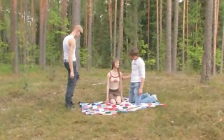 dilettante czechian threesome in the forest