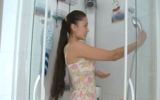 pleasant gipsy babe teasing in a shower