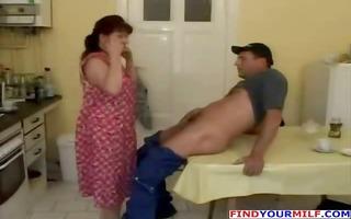 mature housewife fucks on kitchen table