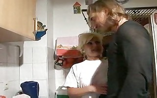 sexy blonde german granny gangbanged in kitchen