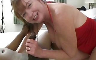 chunky redhead milf plays with one black cum