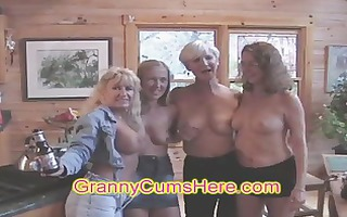 swingers party with three-some wild milfs!