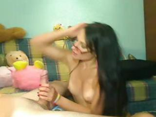 Horny brunette eats his cock, rides it and then