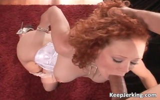 redhead wench with wonderful tits smokes massive