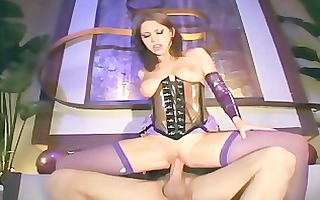sweetheart in purple fishnet stockings and a